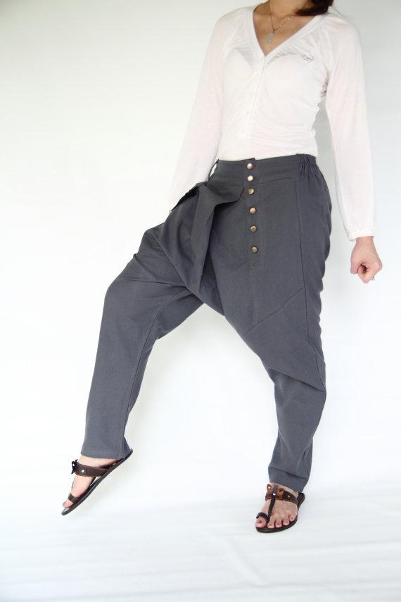 Harem pants unique design grey cotton pantslow by smileclothing