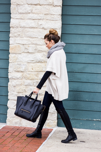 the teacher diva blogger bag shoes jeans celine celine bag skinny jeans black jeans white sweater oversized cardigan oversized sweater infinity scarf knee high boots black boots black bag scarf knitted scarf bun flat boots