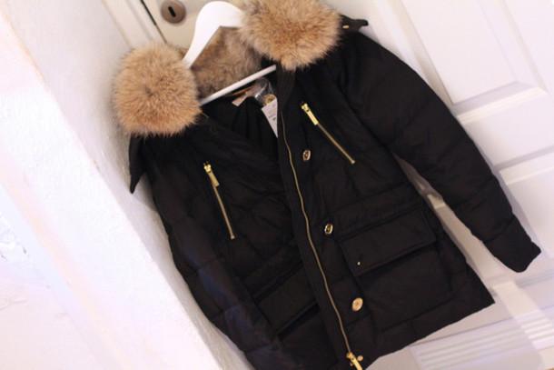 75feca9d44d8 jacket michael kors fur black winter outfits winter jacket belt girl black  coat fall outfits fall