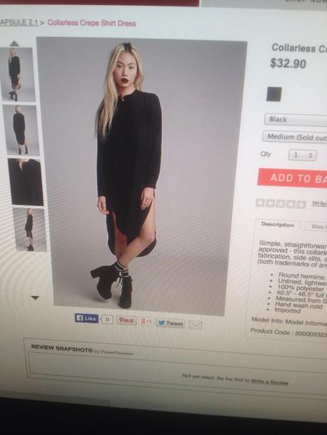 blouse black white collarless  crepee shirt dress forever 21