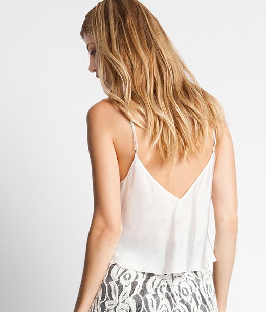 StyleSaint - Silk Habotai Cropped Cami -- White