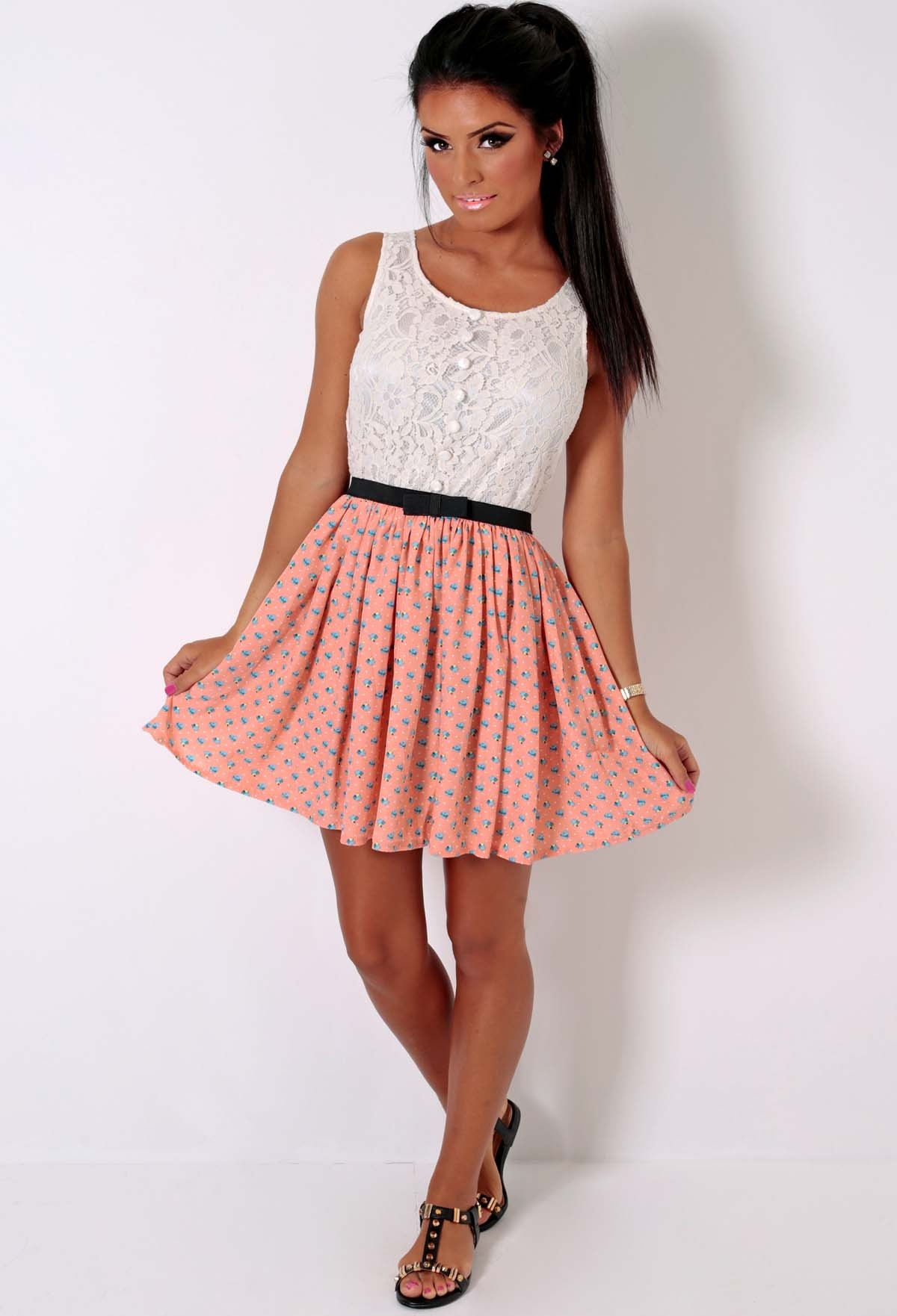 Peach and Cream Lace Floral Skater Dress | Pink Boutique