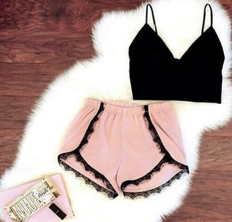 shorts pink black black crop top summer outfits summer outfit