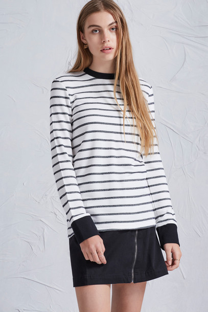 The fifth top long navy white