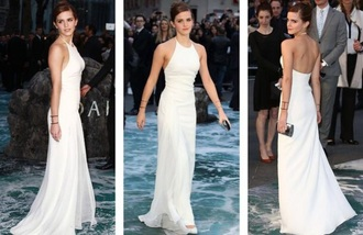 dress white dress emma watson maxi dress halter neck