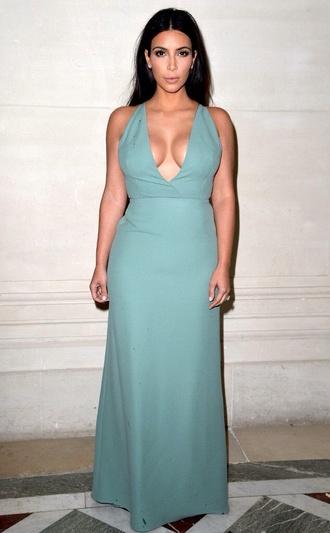 kim kardashian chiffon ball gown dress floorlength gown mint keeping up with the kardashians plunge neckline halter neck