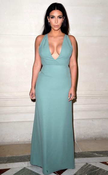 ball gown kim kardashian chiffon floorlength gown mint keeping up with the kardashians plunging neckline halter neck