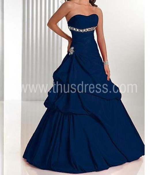 Dress: prom, prom dress, blue dress, blue, sequins, gems, big ...