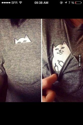 t-shirt cats pocket