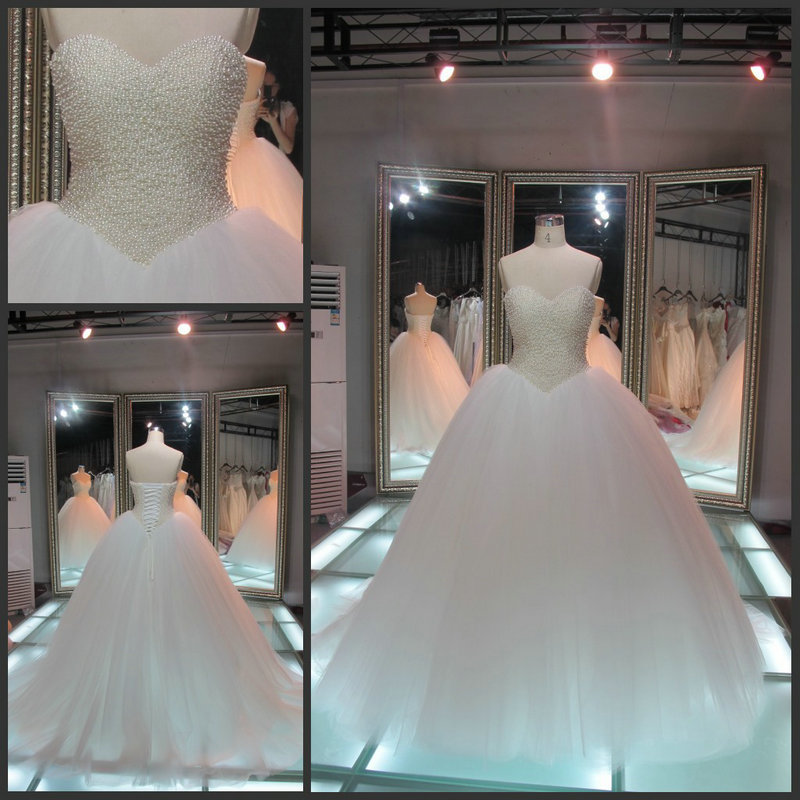Aliexpress.com : Buy Real Photo 2014 Elegant Sweetheart Pearl Bodice Bridal Gowns Lace Up White Tulle Ball Gown Wedding Dress from Reliable dress watches for men suppliers on 27 Dress