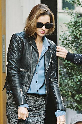 jacket miranda kerr black jacket sunglasses blue shirt skirt