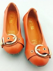 shoes,orange flat pump,ballet pumps,flat sandals,orange shoes,stylish shoes,girly shoes,anything,colorful shoes