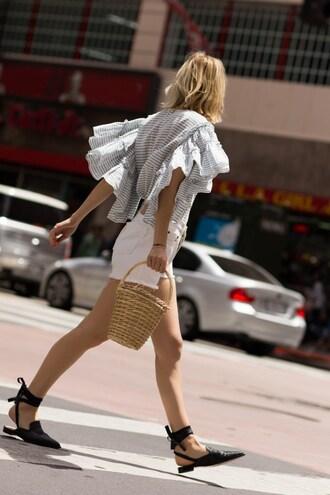 the fashion sight blogger blouse shorts basket bag ruffle white shorts flats summer outfits reformation