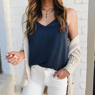 top tumblr blue top necklace gold necklace jewels jewelry gold jewelry cardigan white cardigan denim jeans white jeans nail polish nails white nails spring outfits