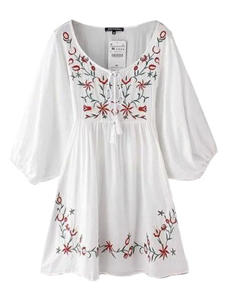 dress brenda-shop embroidered white white dress boho boho dress bohemian summer summer dress cute mini dress tassel flowers