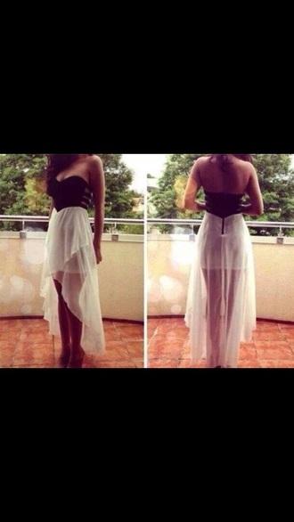 dress black crop top white skirt zip long dress net mesh top no straps style strapless top backless dress bag