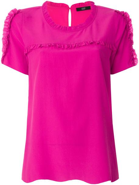 Steffen Schraut blouse women spandex silk purple pink top