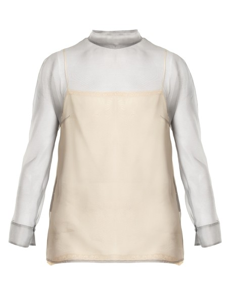 Prada blouse high silk light grey top