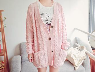 jacket knitted cardigan oversized cardigan winter sweater black sweater pink cardigan sweet warm cozy oversized pink cardigan cable knit kawaii pastel korean fashion ulzzang