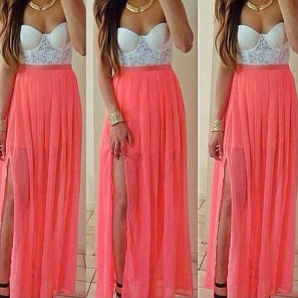 dress skirt maxi skirt one slit style glamour corail light pink bustier corset bralette slit skirt bralette tops jewels white and coral