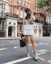 skirt,white denim,mini skirt,high waisted,ankle boots,snake print,handbag,oversized sweater,cap