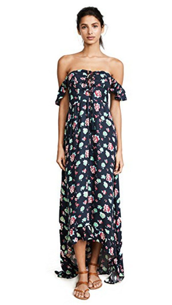TIARE HAWAII Mia High Low Dress in charcoal / rose