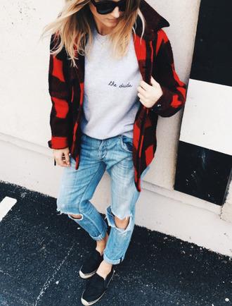sweater shirt jacket flannel red black gray jeans denim shoes sunglasses sweatshirt