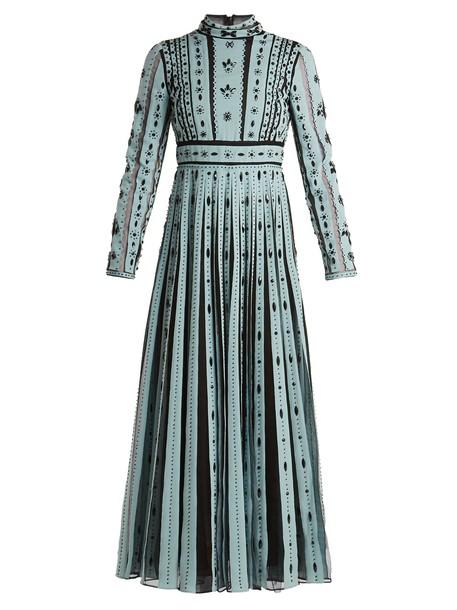 Valentino dress silk dress pleated embellished silk blue black