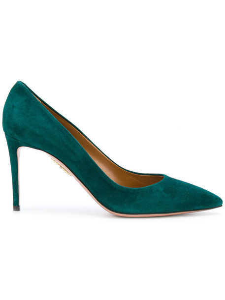 Aquazzura women pumps leather suede green shoes