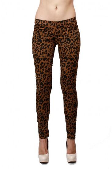 LoveMelrose.com From Harry & Molly | Basic Skinny Jeggings- Leopard Print