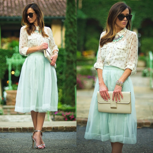 Mint Organza Midi Skirt - Retro, Indie and Unique Fashion
