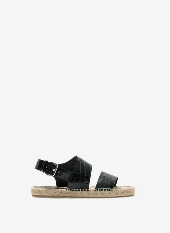 Mock crock jute sandals - Flat sandals - Footwear - Uterqüe France