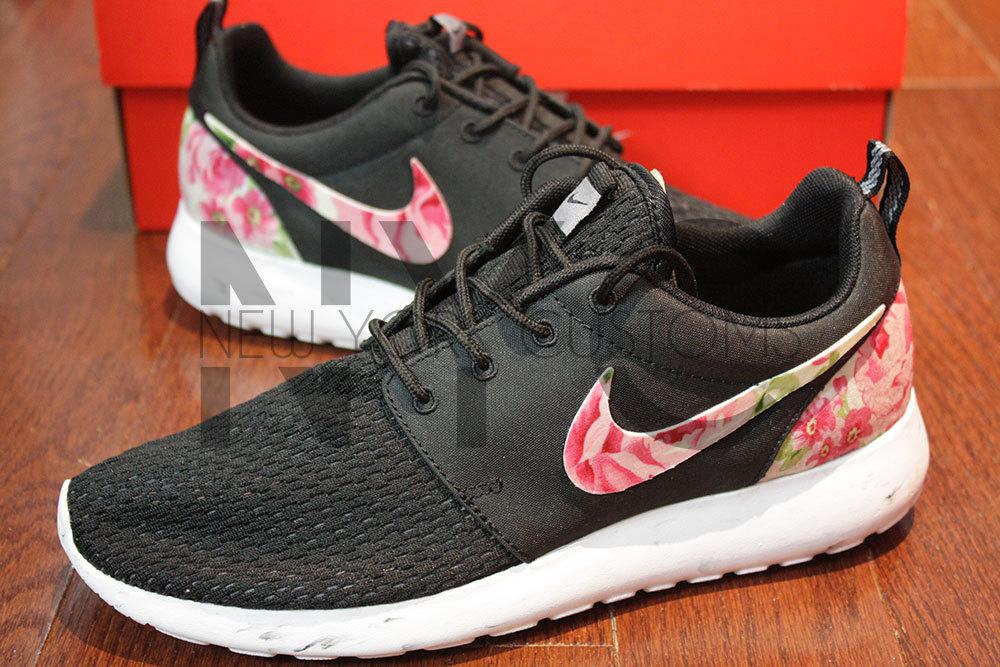 144fa45831d01 Nike Roshe Run Black White Marble Rose Garden Custom
