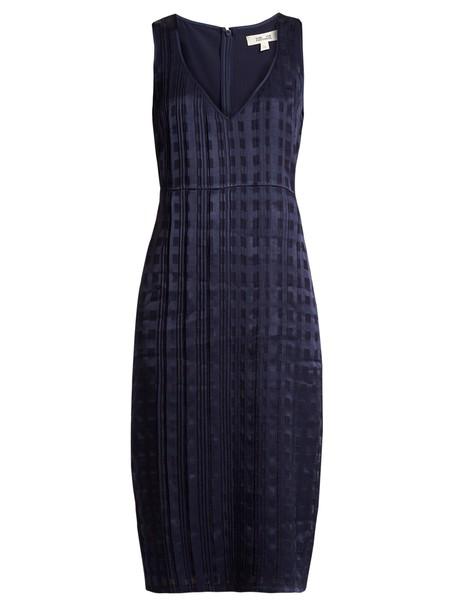 Diane Von Furstenberg dress satin dress sleeveless satin navy