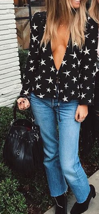 blouse low cut front tie shirt long sleeves black white stars clothes