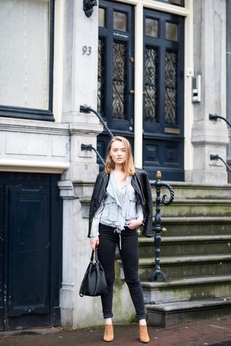 miss confidential blogger jacket blouse jeans shoes bag