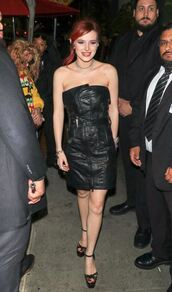 shoes,black dress,dress,leather,leather dress,platform sandals,bella thorne,strapless