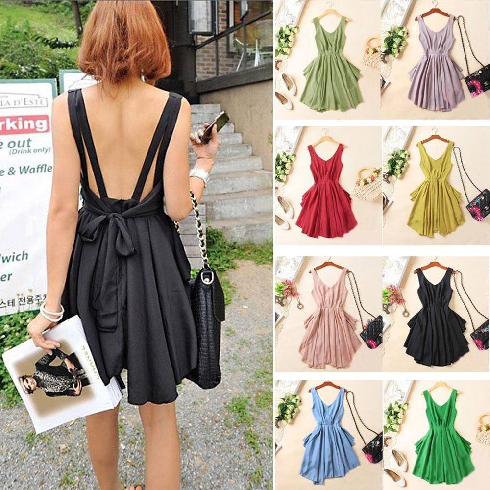 Summer Sexy Women Chiffon Backless Bow Pleated Clubwear Cocktail Dress Candy | eBay