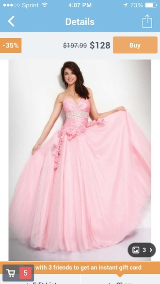 dress blush flowers prom long ball gown dress