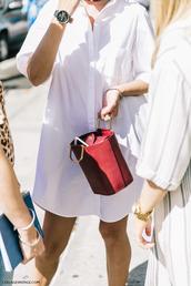 bag,tumblr,red bag,shirt dress,white dress,dress,mini dress,black watch,watch,white shirt,mini bag,bucket bag,fashion week street style,fashion week,streetstyle