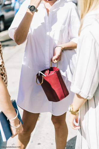 bag tumblr red bag shirt dress white dress dress mini dress black watch watch white shirt mini bag bucket bag fashion week street style fashion week streetstyle