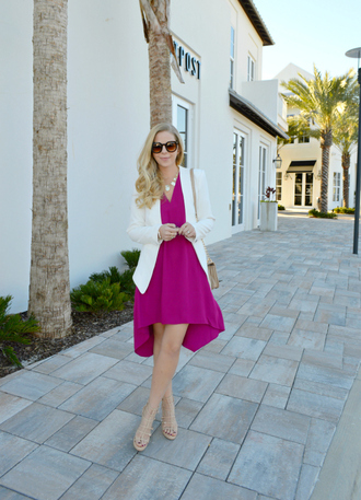 fash boulevard blogger jewels pink dress white jacket statement necklace sunglasses flats office outfits