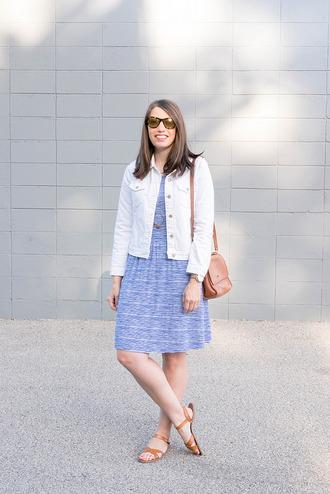 styleontarget blogger jewels jacket dress bag white jacket blue dress shoulder bag sandals flat sandals summer outfits