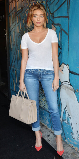 jeans top sarah hyland pumps purse white top bag saint laurent