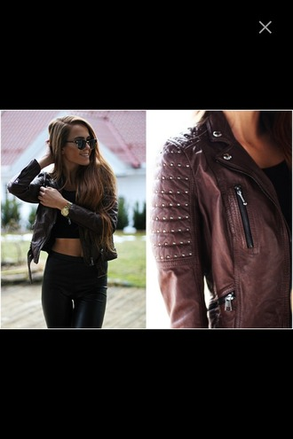 jacket leather leather jacket brown brown leather brown leather jacket studs studded leather jacket
