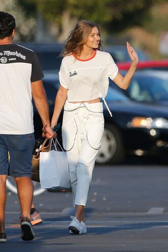 pants gigi hadid sneakers top purse editorial model all white everything