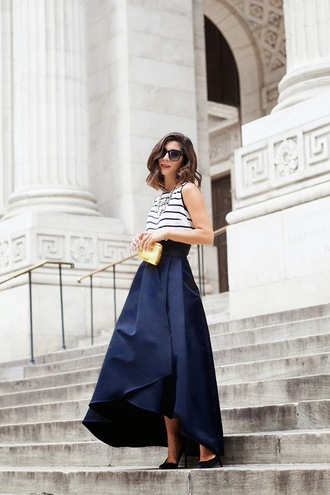 this time tomorrow blogger sunglasses navy striped top long skirt