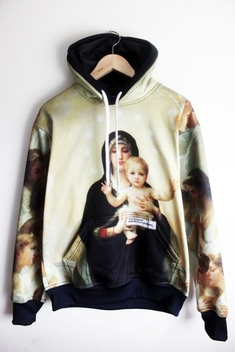 sweater jesus hoodie religious pyrex hba street jumper sweatshirt paris picture picture of paris art renaissance cool dope urban skater punk chic hippie chic chic muse