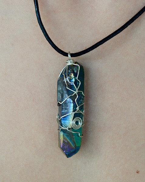 Rainbow aura titanium quartz wand necklace