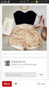 shorts,gold sequins,shirt,jewels